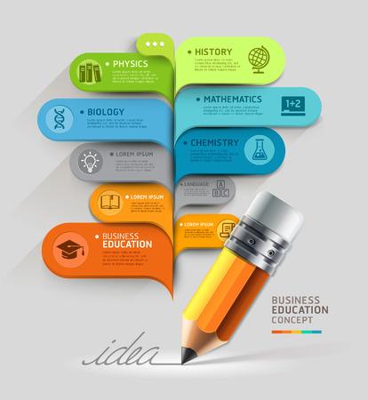 diagrama: Concepto de la educación de negocios Lápiz y plantilla de burbuja se pueden utilizar para el diseño del flujo de trabajo, diagrama, opciones numéricas, intensificar opciones, diseño web, plantilla de la bandera, infográficas
