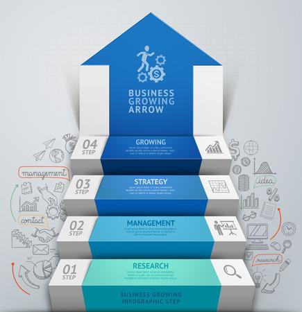 3d 비즈니스 화살표 단계 계단 인포 그래픽. 벡터 일러스트 레이 션. 옵션, 웹 디자인, 다이어그램을 단계, 워크 플로우 레이아웃, 배너, 번호 옵션을 사