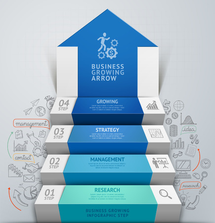 infographic: 3d business arrow step staircase infographics. Vector illustration. Can be used for workflow layout, banner, number options, step up options, web design, diagram.