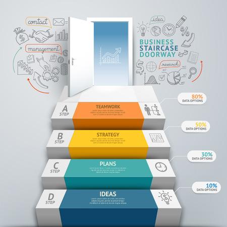 infografica: Affari scala doorway infografica concettuali. Illustrazione vettoriale. Può essere utilizzato per il layout del flusso di lavoro, banner, opzioni di numero, intensificare le opzioni, web design, diagramma.