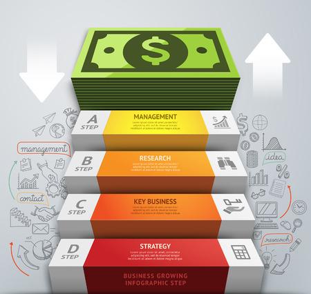バンキング: お金ビジネス階段概念的なインフォ グラフィック。ベクトル イラスト。ワークフローのレイアウト、バナー、番号のオプションを使用することができます、ステップ アップのオプション、web デザイン、ダイアグラム。
