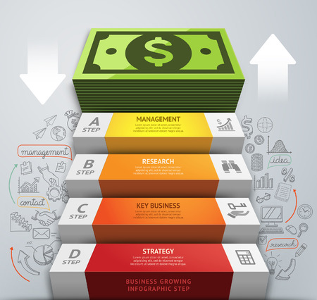 Money business staircase conceptual infographics. Vector illustration. Can be used for workflow layout, banner, number options, step up options, web design, diagram. Иллюстрация