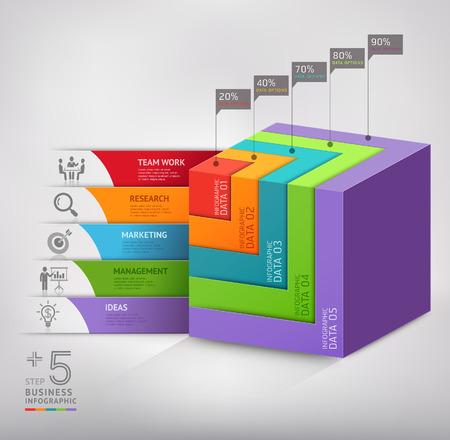 Moderne 3D-Box Treppe Diagramm Geschäft. Vektor-Illustration. kann für Workflow-Layout, Banner, Anzahl Optionen verwendet werden, Step Up-Optionen, Web-Design, Infografiken.