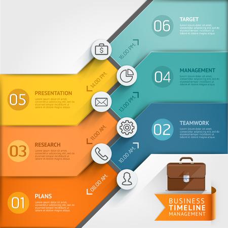 infografica: Timeline modello infografica. Illustrazione vettoriale. può essere utilizzato per il layout del flusso di lavoro, bandiera, diagramma, opzioni di numero, web design.