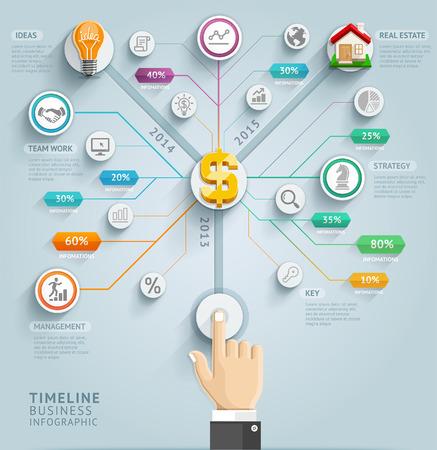 Timeline modello infografica. Illustrazione vettoriale. può essere utilizzato per il layout del flusso di lavoro, bandiera, diagramma, opzioni di numero, web design. Vettoriali
