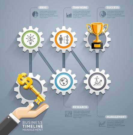 infografica: Chiave di affari con l'ingranaggio modello infografica timeline. Illustrazione vettoriale. può essere utilizzato per il layout del flusso di lavoro, bandiera, diagramma, opzioni di numero, web design.
