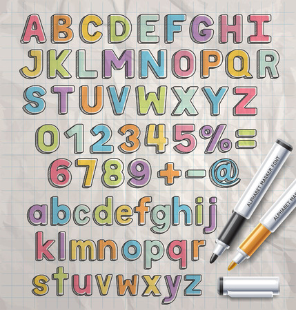 Alphabet Marker bunten Doodle Schriftstil. Vektor-Illustration.