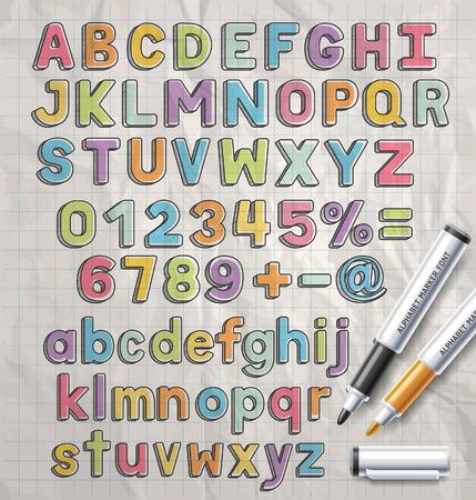 abecedario: Marcador alfabeto estilo de fuente colorido del doodle. Ilustración del vector. Vectores