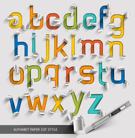schneiden: Alphabet Papier geschnitten bunten Schriftstil. Vektor-Illustration.