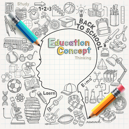 alumnos estudiando: Concepto de la educaci�n pensamiento doodles iconos conjunto. Ilustraci�n del vector.