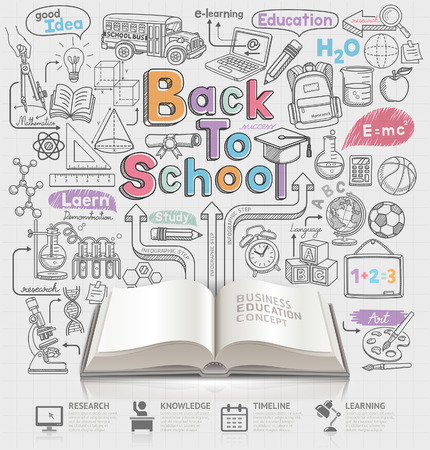 in the back: Back to school idea doodles icons and open book. Vector illustration. Can be used for workflow layout, diagram, number options, step up options, web design, banner template, infographics.
