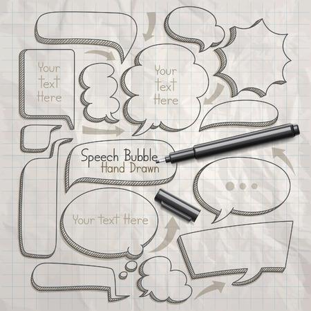 обращается: Речь пузырь каракули рисованной. Векторная иллюстрация.