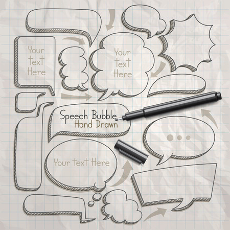 draws: Speech bubble doodles hand drawn. Vector illustration.