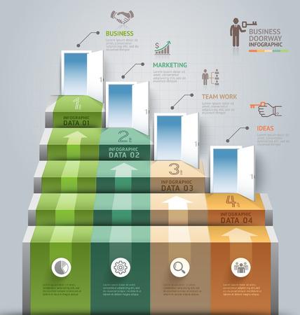 Business-Treppe Tür konzeptionellen Infografiken. Vektor-Illustration. Kann für Workflow-Layout, Banner, Anzahl Optionen verwendet werden, Step Up-Optionen, Web-Design, Diagramm.
