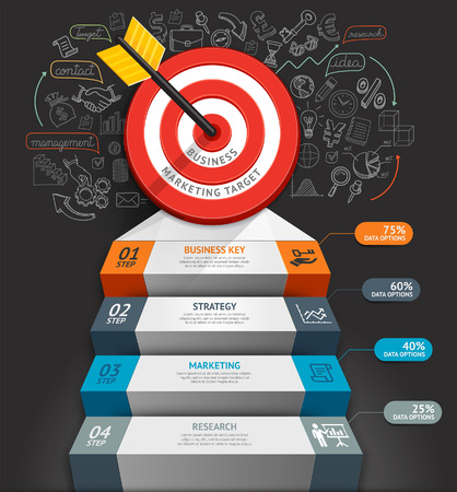 infographics: Business staircase conceptual infographics. Target with arrow and doodles icons. Can be used for workflow layout, banner, diagram, web design, infographic template.
