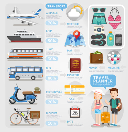 infographic: Travel planner infographics element. Vector illustration. Can be used for workflow layout, banner, number options, step up options, web design, diagram.