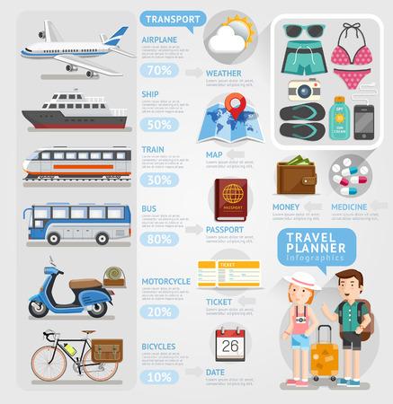 viajes: Viaje elemento infografía planificador. Ilustración del vector. Se puede utilizar para el diseño del flujo de trabajo, bandera, opciones numéricas, intensificar opciones, diseño web, diagrama.