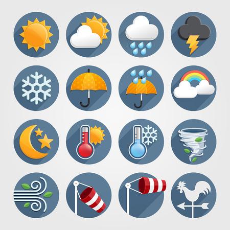 Pogoda płaskie kolor ikony ustawiona. Ilustracji wektorowych Ilustracje wektorowe