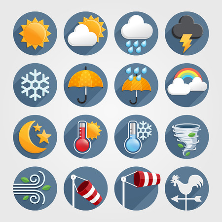clima: Tiempo iconos planos de color ajustado. Ilustración vectorial