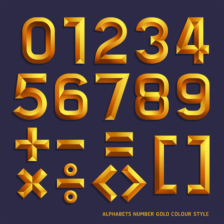 Alphabet gold colour style. Vector illustration. Vector