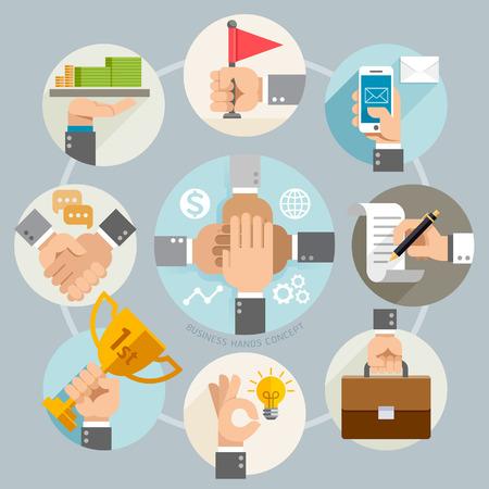 Iconos manos concepto de negocio. Ilustración del vector. Puede ser utilizado para el diseño del flujo de trabajo, bandera, diagrama, diseño web, plantilla de infografía. Vectores