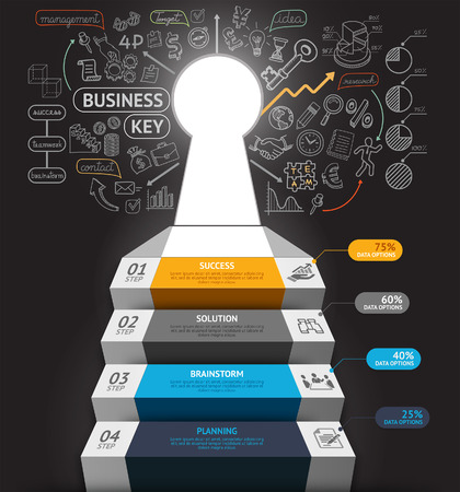 finances: Business step conceptual infographics. Business stair with key hole and doodles icons. Can be used for workflow layout, banner, diagram, web design, infographic template.