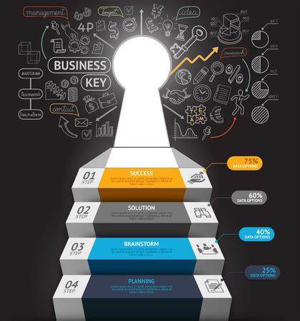 escalera: Paso de Empresas infograf�a conceptuales. Escalera de negocios con agujeros y doodles iconos clave. Puede ser utilizado para el dise�o del flujo de trabajo, bandera, diagrama, dise�o web, plantilla de infograf�a.