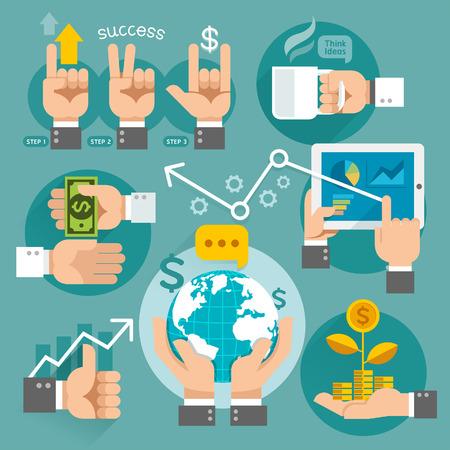 Üzleti kezek koncepció ikonok. Vektoros illusztráció. Lehet használni a munkafolyamat elrendezés, banner, rajz, web design, infographic sablont.
