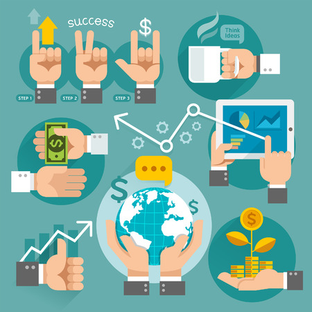 finances: Business hands concept icons. Vector illustration. Can be used for workflow layout, banner, diagram, web design, infographic template.