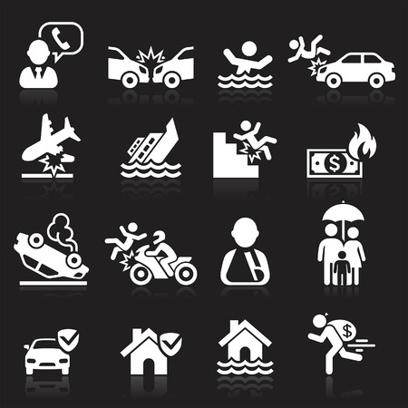 life and death: Insurance icons set. Vector Illustration.