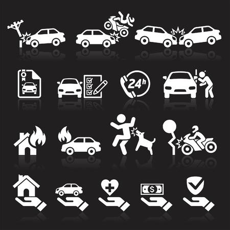 ladron: Iconos del seguro fijados. Ilustración del vector.