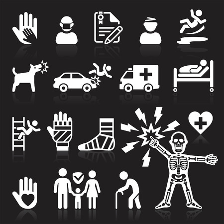 injured person: Insurance icons set. Vector Illustration.