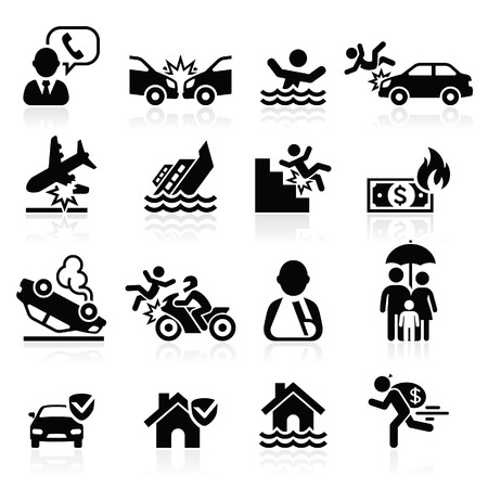 fire damage: Insurance icons set. Vector Illustration.