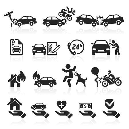 acidente: Ícones do seguro definido. Ilustração vetorial.