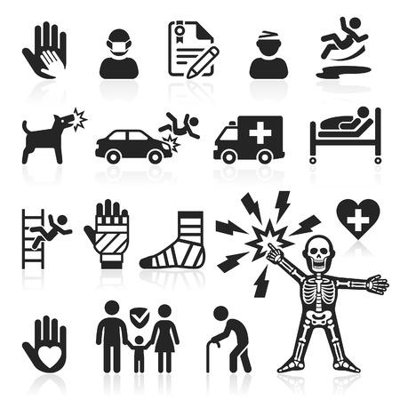 dolore ai piedi: Icone di assicurazione set. Illustrazione vettoriale.