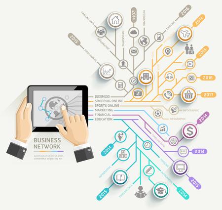 công nghệ: Mạng lưới kinh doanh timeline mẫu Infographic. Doanh nhân sử dụng Tablet. Minh hoạ vector. có thể được sử dụng để bố trí công việc, biểu ngữ, biểu đồ, tùy chọn số, thiết kế web.