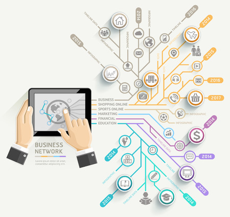 tecnología: Red de negocios calendario plantilla infografía. Hombre de negocios usando la tableta. Ilustración del vector. se puede utilizar para el diseño de flujo de trabajo, bandera, diagrama, opciones de número, diseño de páginas web.