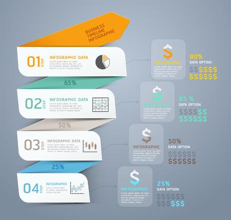 gráfico: Passo Seta template infográfico. Ilustração do vetor. pode ser usado para o layout de fluxo de trabalho, banner, diagrama, opções de número, web design, modelo timeline. Ilustração