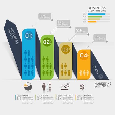 flecha direccion: La comercializaci�n del negocio plantilla de flecha l�nea de tiempo. Ilustraci�n del vector. se puede utilizar para el dise�o de flujo de trabajo, bandera, diagrama, opciones de n�mero, dise�o de p�ginas web, plantilla infograf�a. Vectores
