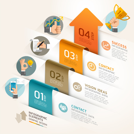 ビジネス マーケティング矢印タイムライン テンプレート。ベクトル イラスト。ワークフローのレイアウト、バナー、図、番号のオプション、web デ