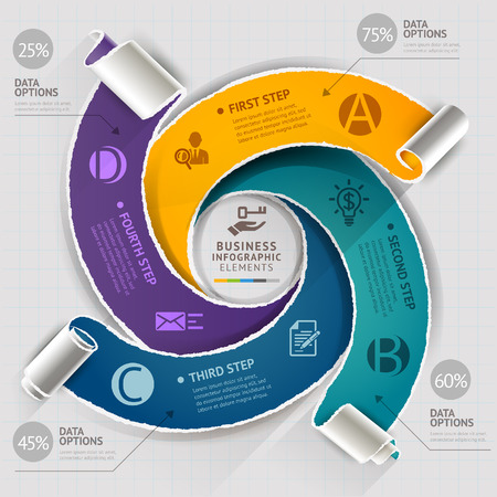 torned: Modern infographics template torn paper style. Vector illustration. can be used for workflow layout, diagram, number options, step up options, banner, web design, timeline template Illustration