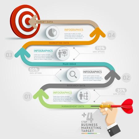 objetivos: Concepto de negocio plantilla de infograf�a. Paso de Business idea dardo marketing de destino. Puede ser utilizado para el dise�o del flujo de trabajo, bandera, diagrama, dise�o web, plantilla de l�nea de tiempo. Vectores