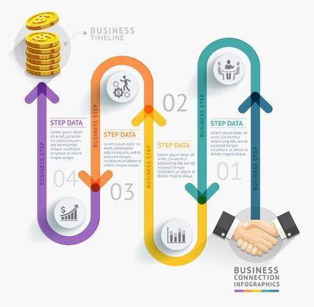 ビジネス タイムライン インフォ グラフィック テンプレート。ベクトル イラスト。ワークフローのレイアウト、バナー、図、番号のオプション、web  イラスト・ベクター素材