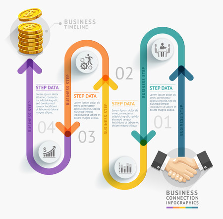 handshake icon: Business timeline infographic template. Vector illustration. can be used for workflow layout, banner, diagram, number options, web design. Illustration