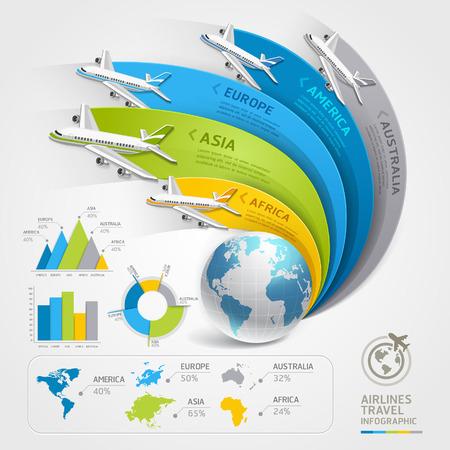 cestování: Airlines cestování infografiky. Vektorové ilustrace. Může být použit pro workflow uspořádání, poutač, schéma, webdesign, časová osa šablony.