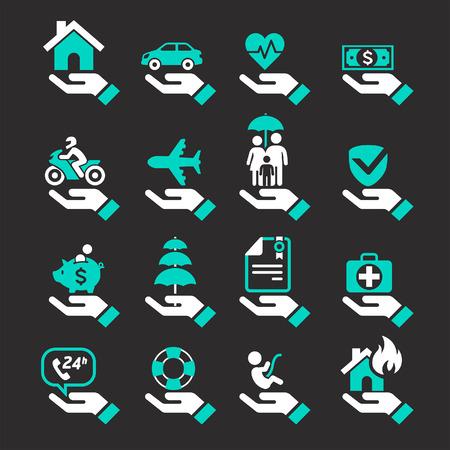 icônes de la main d'assurance fixée. Vector Illustration.