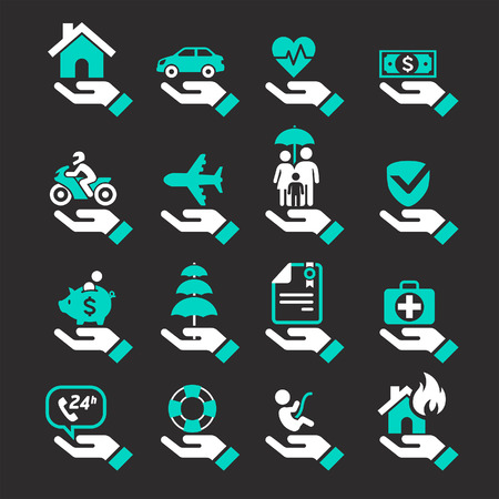 Insurance hand icons set. Vector Illustration. Vettoriali