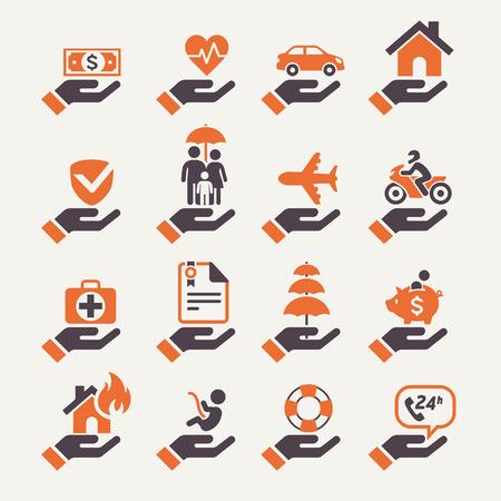 salute: Icone Assicurazione mano impostate. Illustrazione vettoriale.