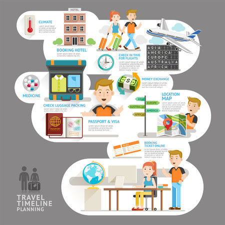 Travel timeline planning element. Vector illustration. Can be used for workflow layout, banner, number options, step up options, web design, diagram, infographics. Vettoriali