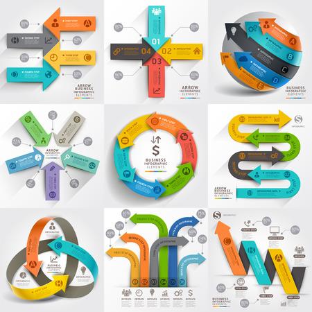 numeros: Flechas comercializaci�n del negocio plantilla de infograf�a. Ilustraci�n del vector. se puede utilizar para el dise�o de flujo de trabajo, bandera, diagrama, opciones de n�mero, dise�o de p�ginas web, los elementos de l�nea de tiempo.
